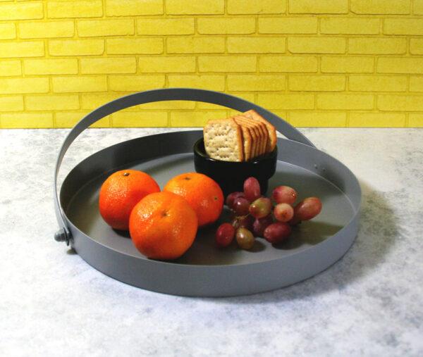 Tablett Grey Tray mit Henkel