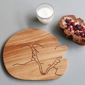 Holzbrettchen Fuchs für ein gesundes Frühstück